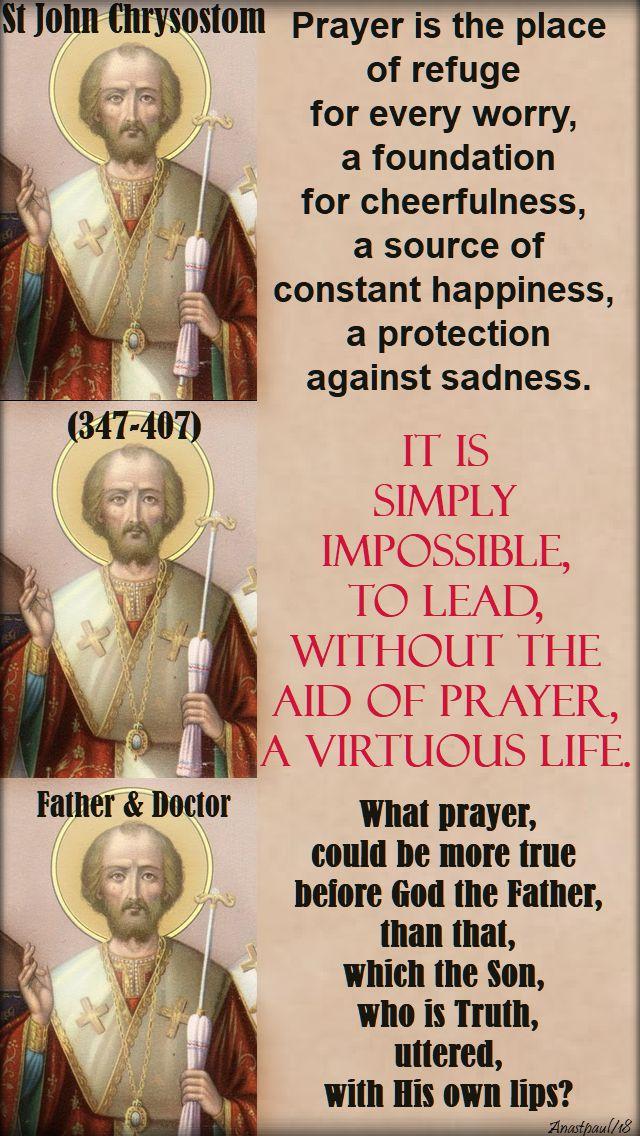 prayer is - st john chrysostom - 30 jan 2018