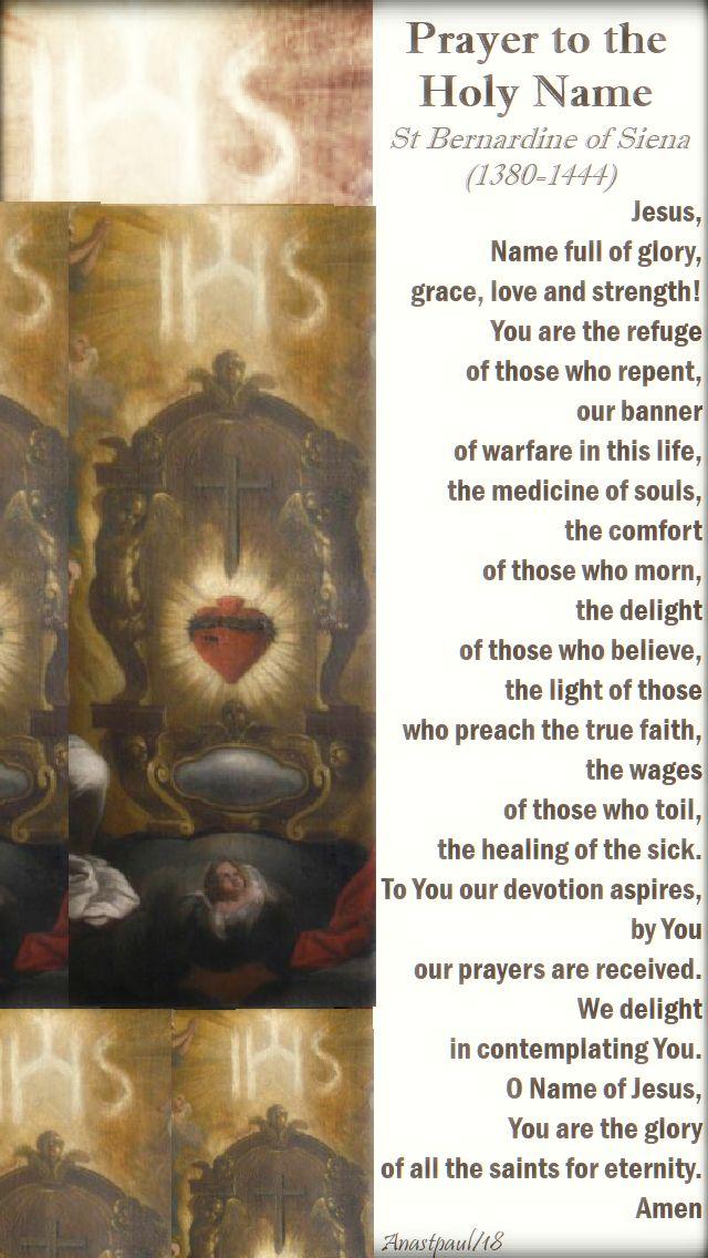 prayer to the holy name by st bernardine of siena no 2 - 10 jan 2018
