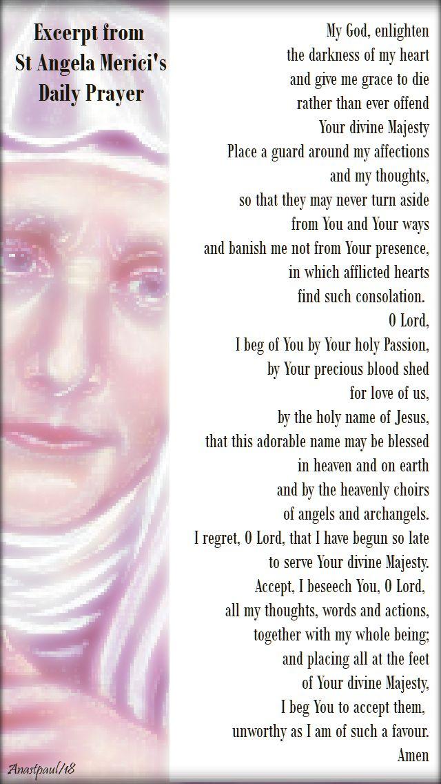 st angela merici's prayer - 27 jan 2018