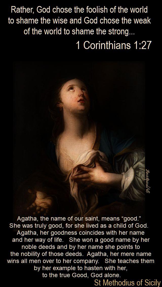 agatha, the name of our saint - st methodius of sicily - 5 feb 2018