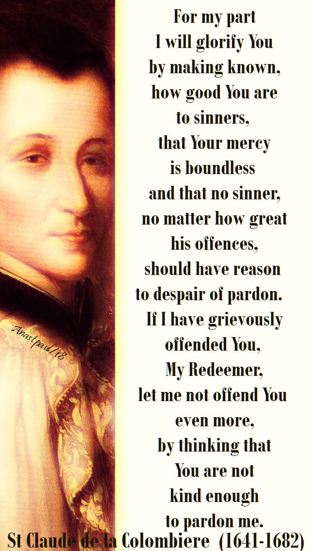 for my part i will glorify you - st claude de la colombiere - 15 feb 2018