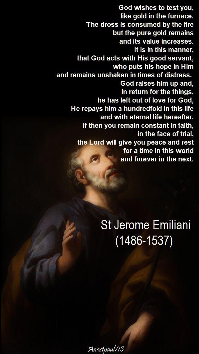 god wishes to test you - st jerome emiliani - 8 feb 2018