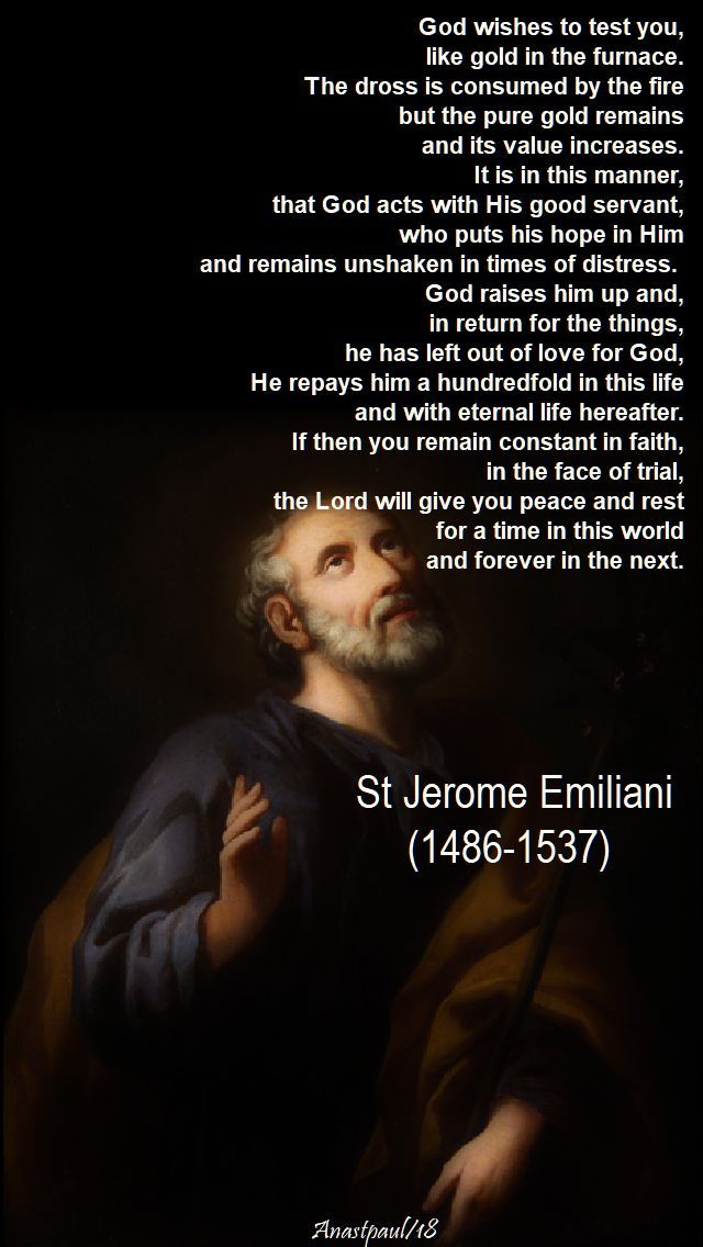 god wishes to test you - st jerome emiliani - 8 feb 2018