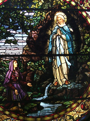 lourdes in stained glass