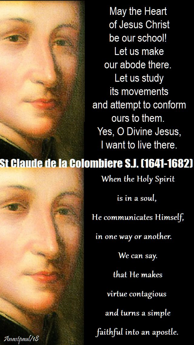 may the heart of jesus christ be our school - st claude de la colombiere - 15 feb 2018