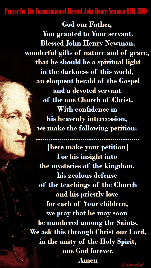 prayer for the canonisation of bl john henry newman - 20 feb 2018