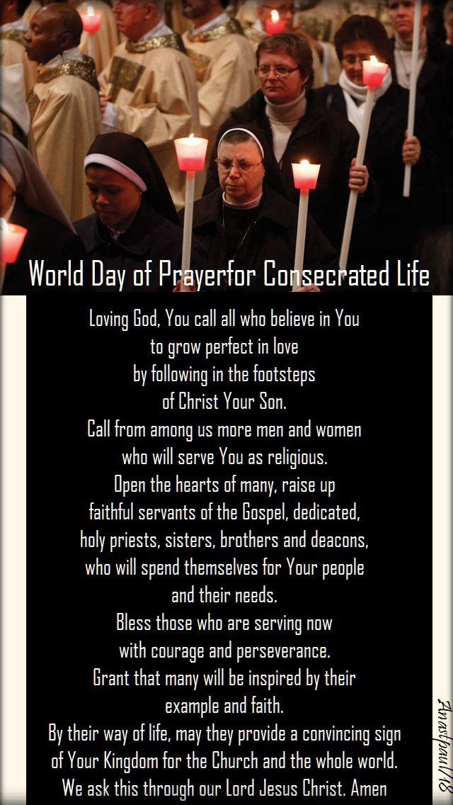 prayer for the consecrated and vocations - 2018