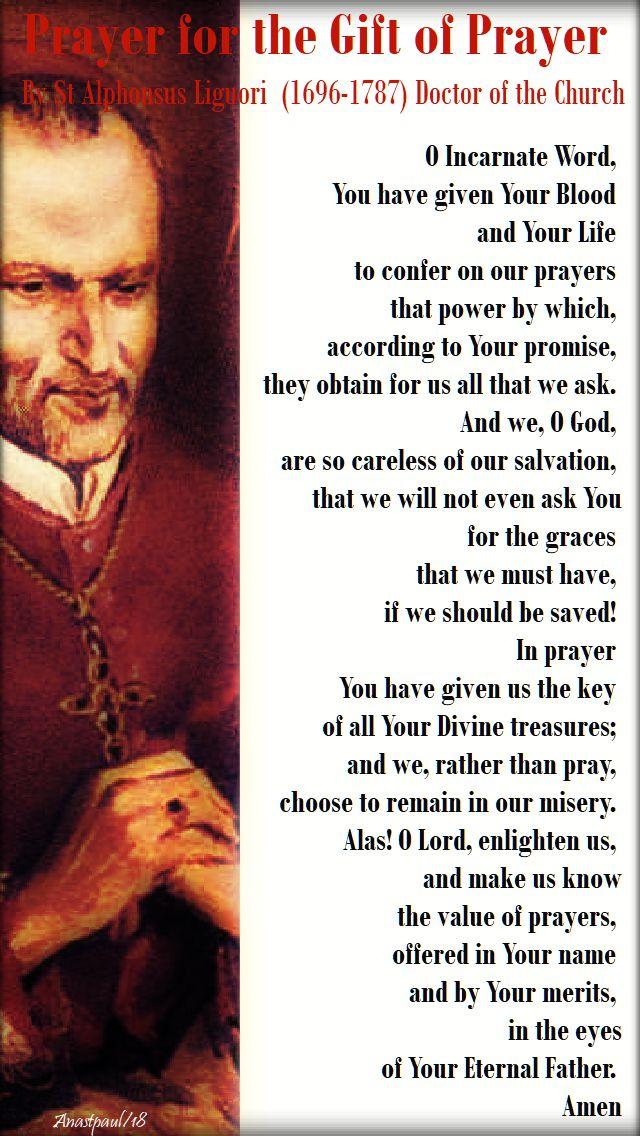 prayer for the gift of prayer by st alphonsus liguori - 24 feb 2018