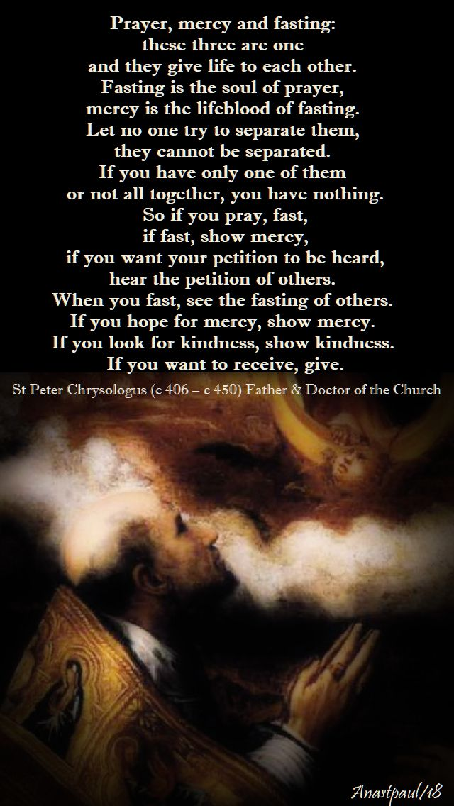 prayer,mercyandfasting-16 feb 2018 - first friday of lent - st peter chrysologus