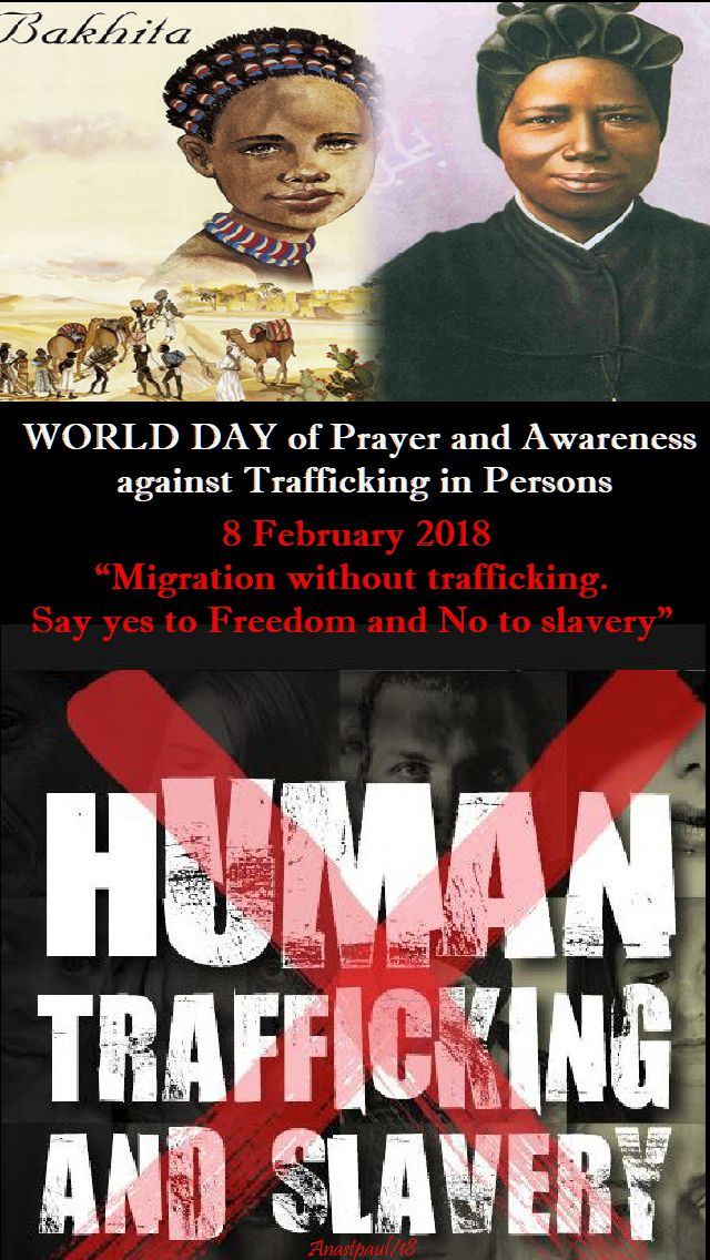 world day against trafficking theme - 8 feb 2018