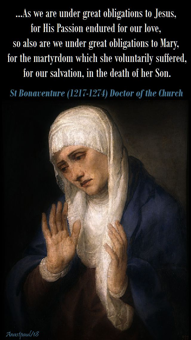 as we are under great - st bonaventure on the sorrowful mother - the third word - 28 march 2018