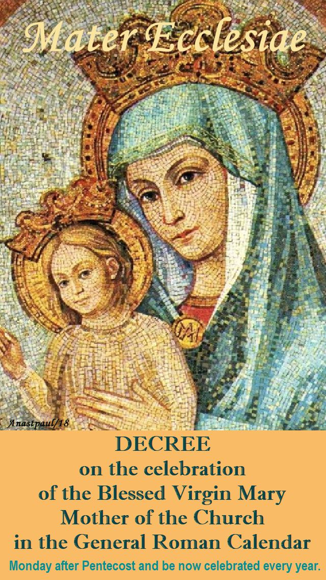 decree - mater ecclesiae - new memorial monday after pentecost - 4 march 2018