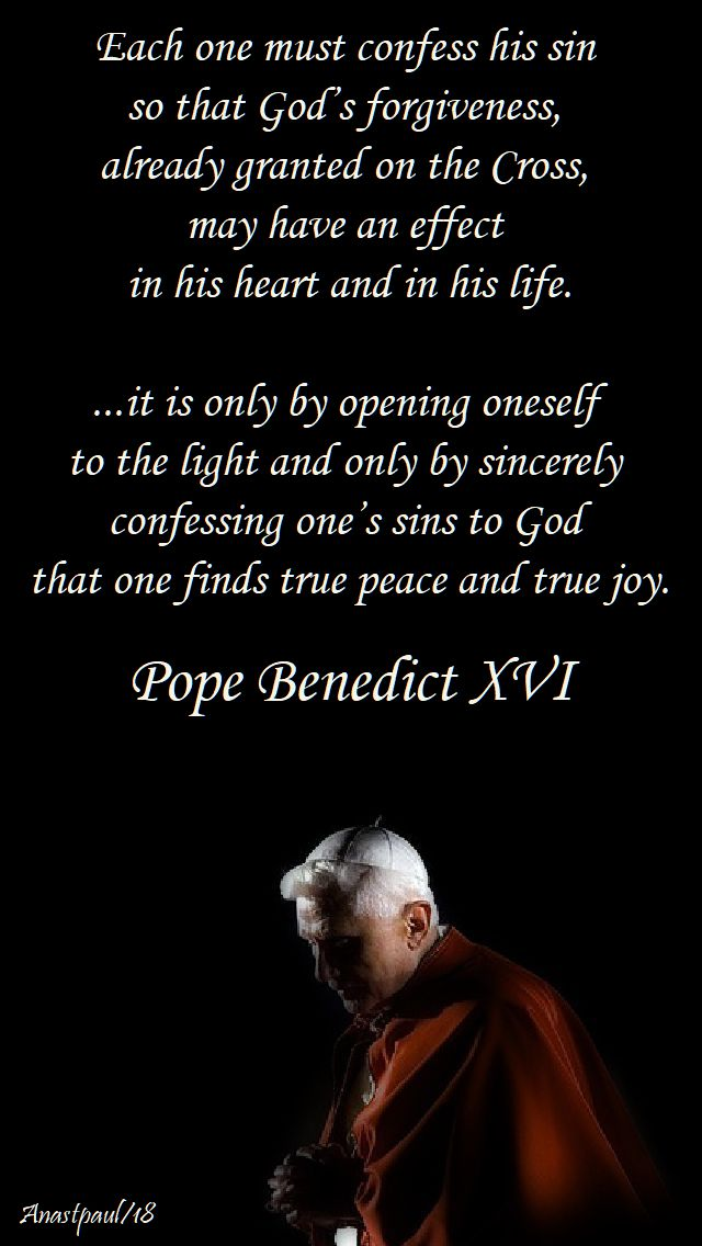 each one must confess his sin = pope benedict - 13 march 2018