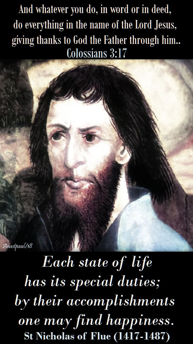 each state of life - st nicholas of flue - 21 march 2018