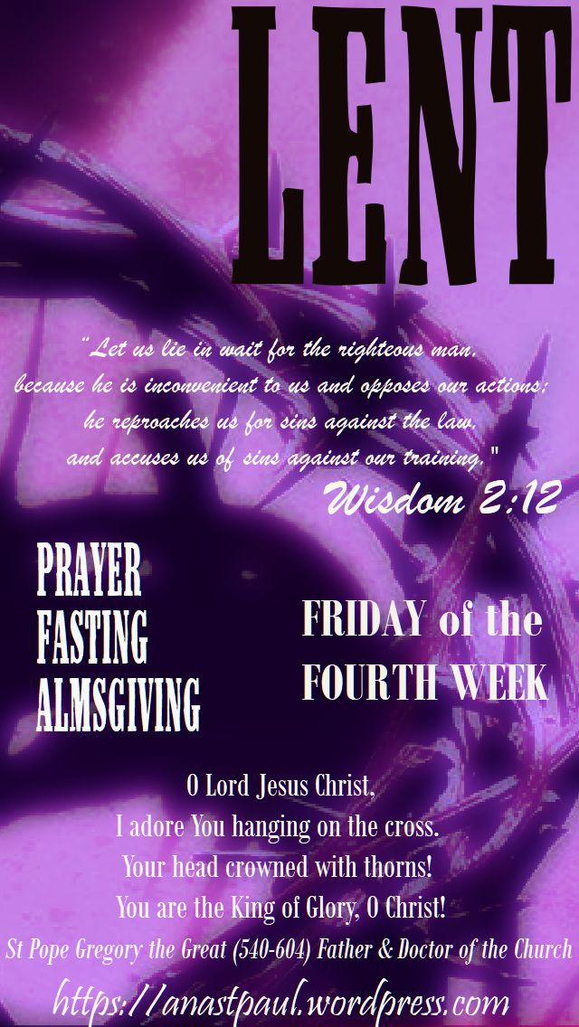 friday of the fourth week - 16 march 2018