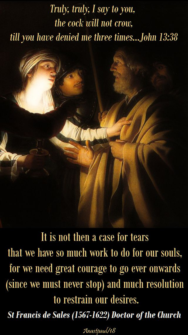 it is not then a case for tears - st francis de sales - tuesday of holy week - 27 march 2018