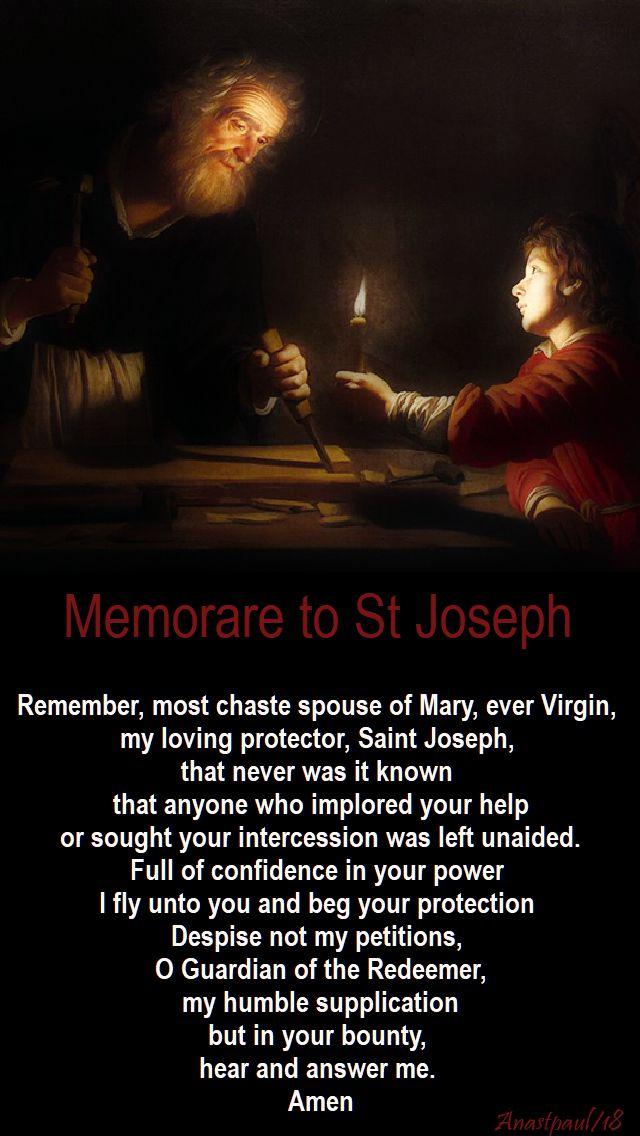 memorare to st joseph - day seven- 16 march 2018