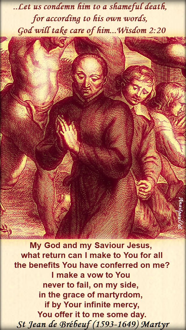 my god and my saviour - st jean de brebeuf - 16 march 2018