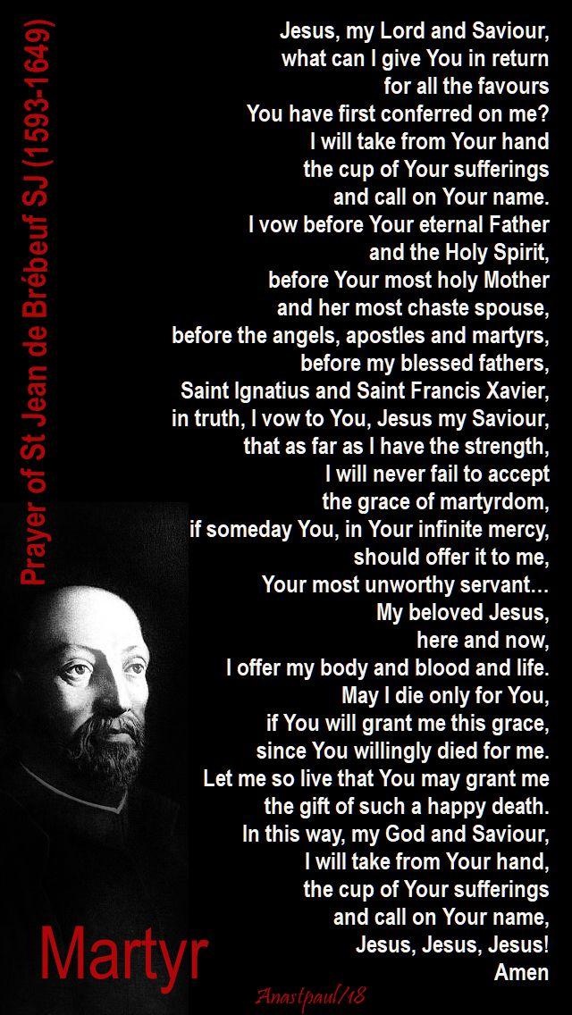 prayer of st jean de brebeuf - 16 march 2018