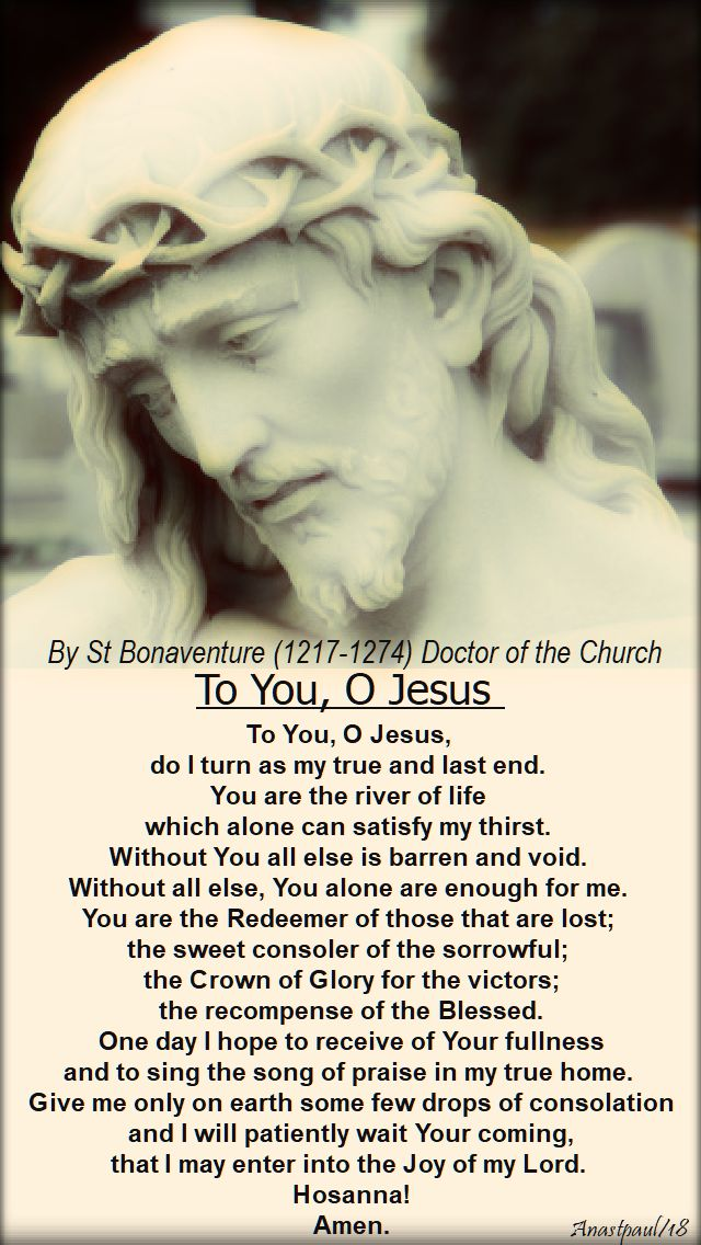 to you, o Jesus - by st bonaventure - palm sunday - 25 march 2018