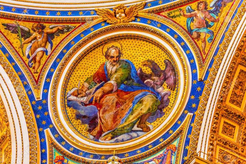 Saint Mark Mosaic Angels Saint Peter's Basilica Vatican Rome Ita