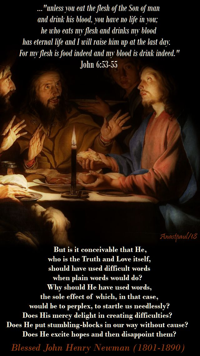 but is it conceivable that he, who is the truth and love itself - bl john henry newman - 20 april 2018 - john chapter 6