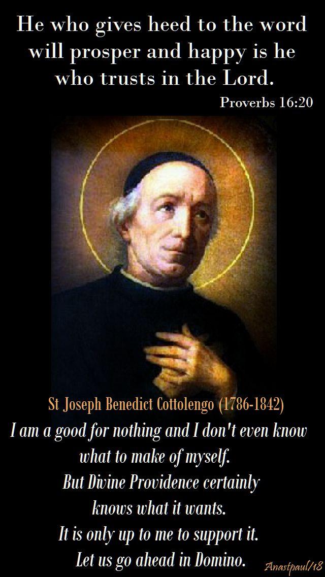 i am a good for nothing - st joseph benedict cottolengo - 30 april 2018