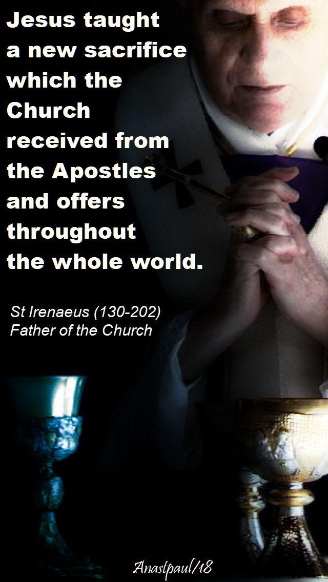 jesus taught a new sacrifice - st irenaeus - 15 april 2018