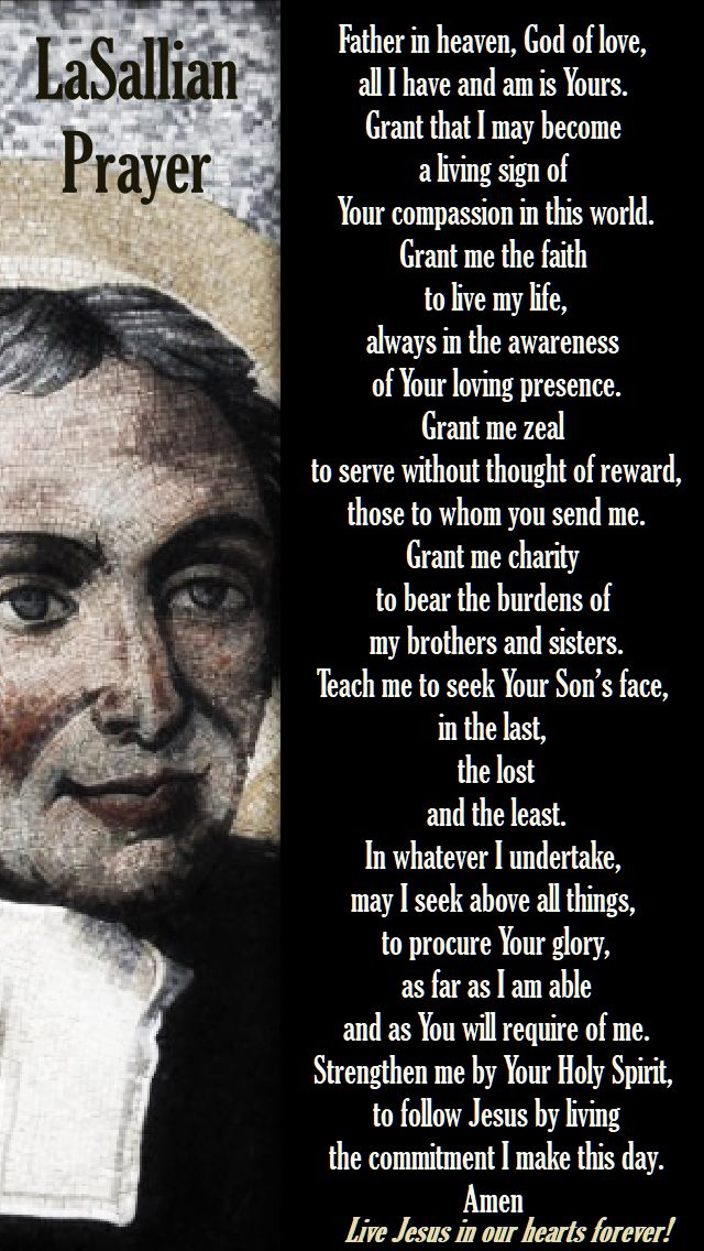 lasallian prayer - father in heaven, god of love - st john baptiste de la salle - 7 april 2018