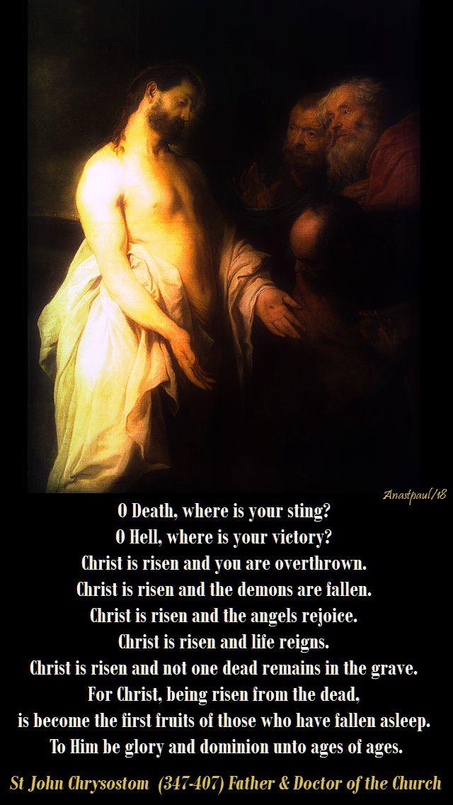 o death where is your sting - st john chrysostom - easter thursday - 5 april 2018
