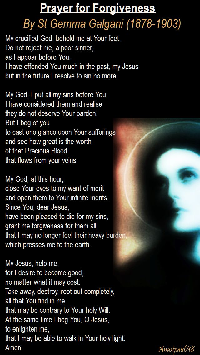 prayer for forgiveness - st gemma galgani - 11 april 2018