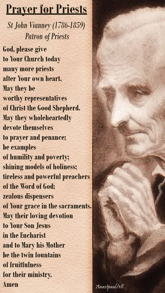 prayer for priests by st john vianney - vocations sunday - 22 april 2018