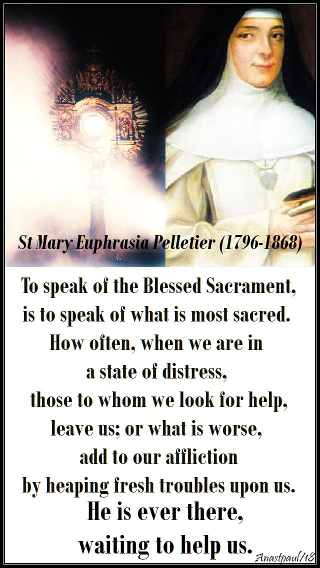 to speak of the blessed sacrament - st mary euphrasia- no 2- 24 april 2018