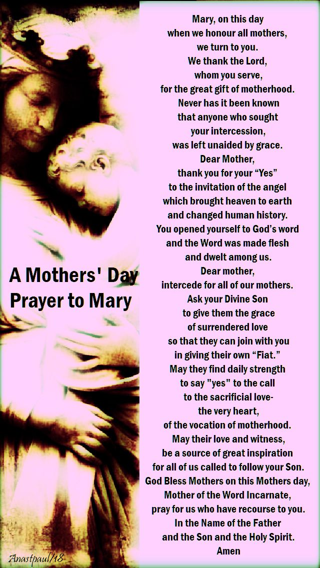 a mother's day prayer to Mary - no 2 - pink - 13 may 2018