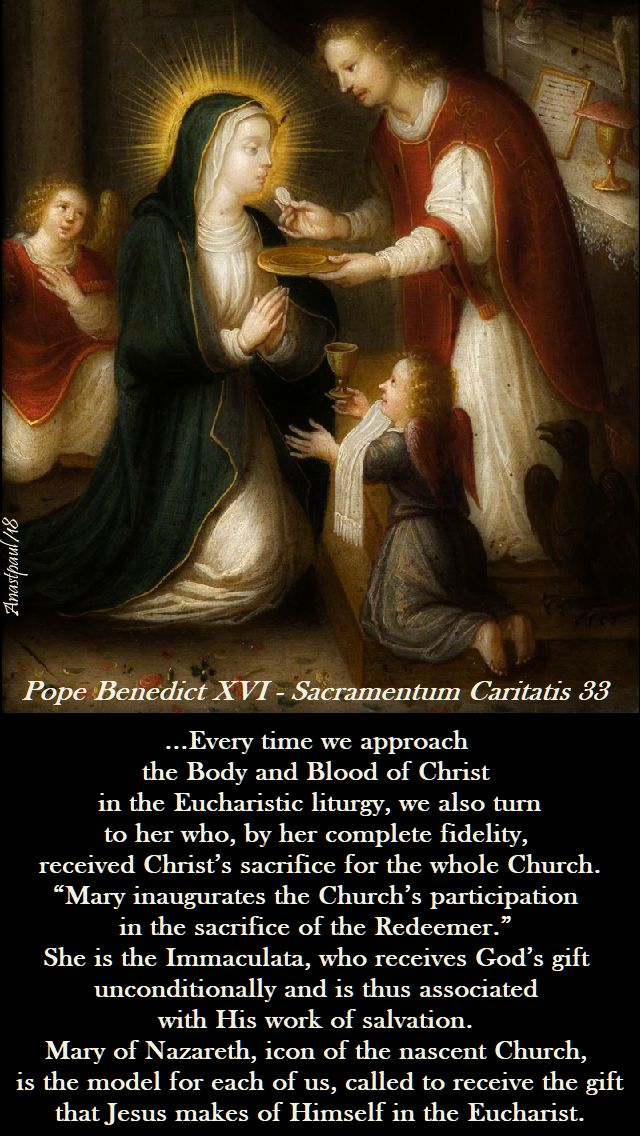 every time we approach the body and blood of christ - pope benedict - 11 may 2018
