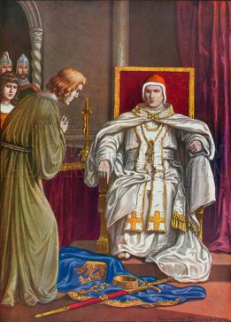 Holy Roman Emperor Henry IV doing penance to reverse his excommunication by Pope Gregory VII