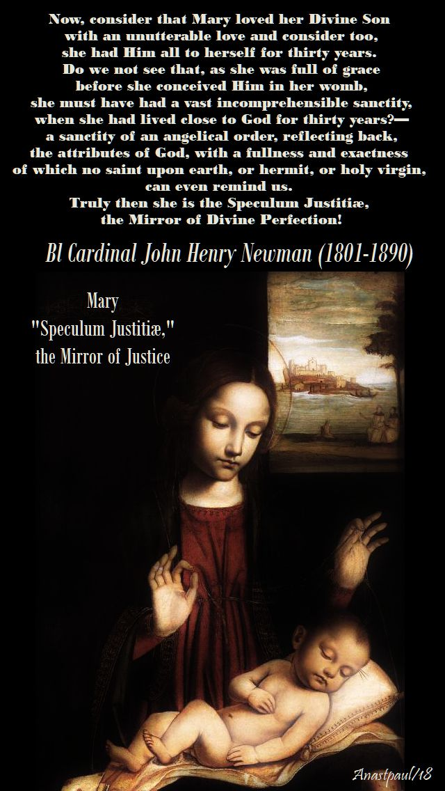 now consider that, - bl john henry newman - mary the mirror of justice - 12 may 2018