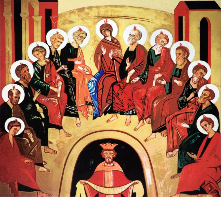 Scene from Pentecost depicted in artwork at Our Lady of Divine Providence Church in Providenciales, Turks and Caicos Islands