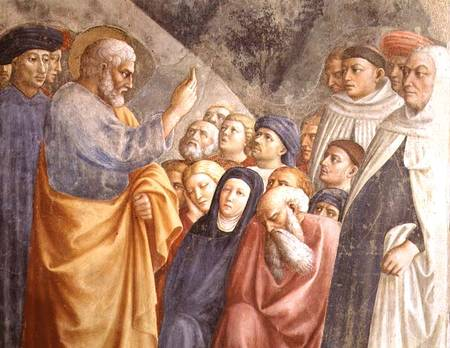 BEN63198 St. Peter Preaching in Jerusalem (detail of 63197) c.1427 (fresco) by Masolino da Panicale, Tommaso (1383-c.1447) Brancacci Chapel, Santa Maria del Carmine, Florence, Italy Italian, out of copyright