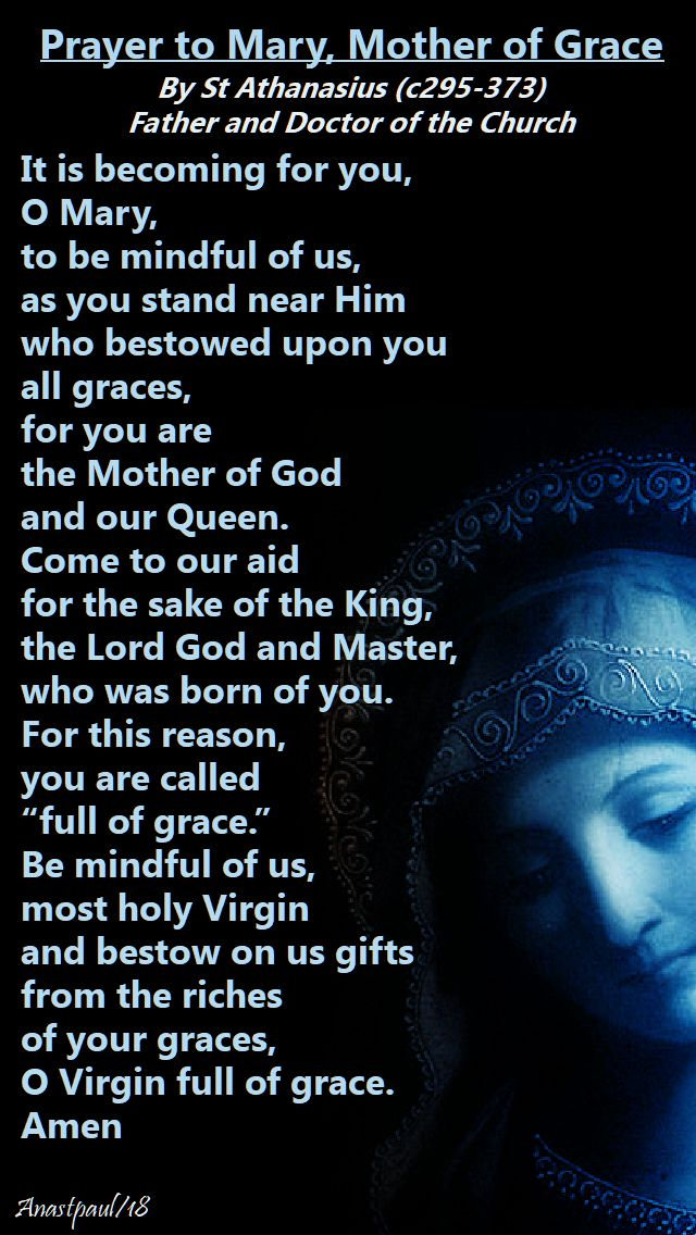 prayer to mary mother of grace by st athanasius - 2 may 2018