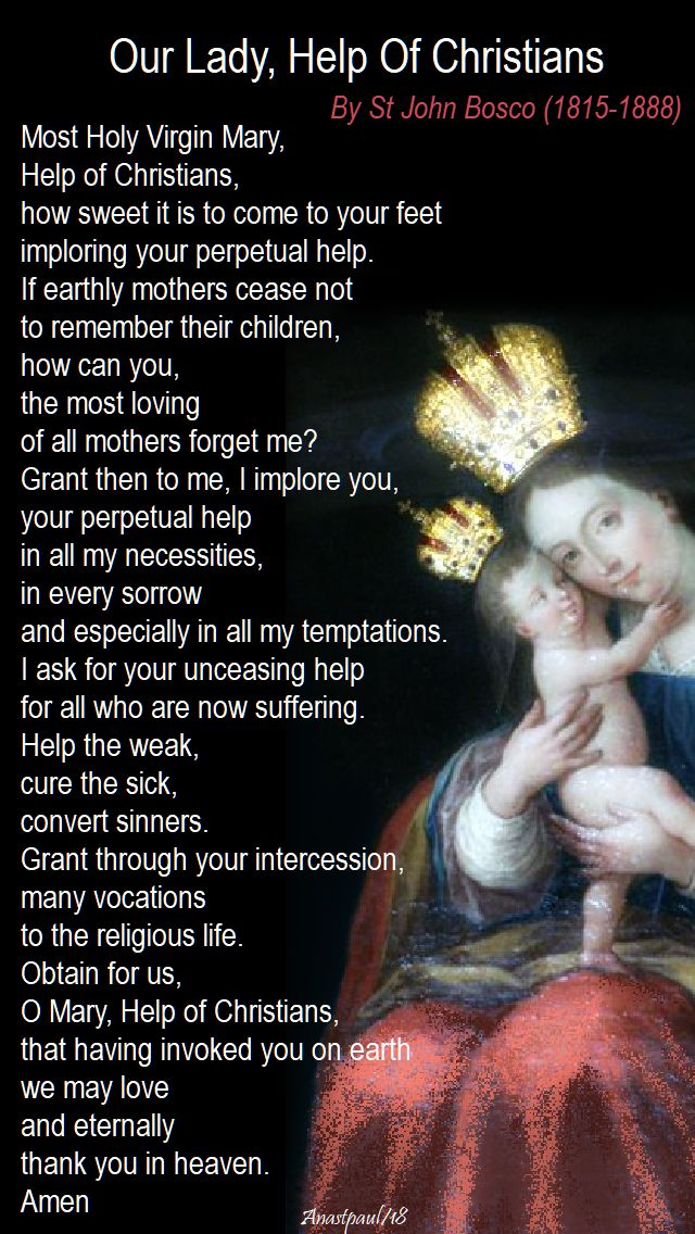 prayer to our lady help of christians by st john bosco - 24 may 2018