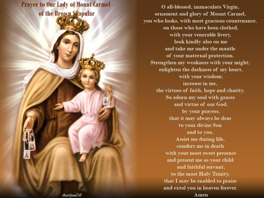 prayer to our lady of mount carmel of the brown scapular - 16 may 2018 st simon stock