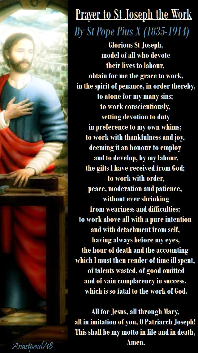 prayer to st joseph the worker - st pope pius X - 1 may 2018