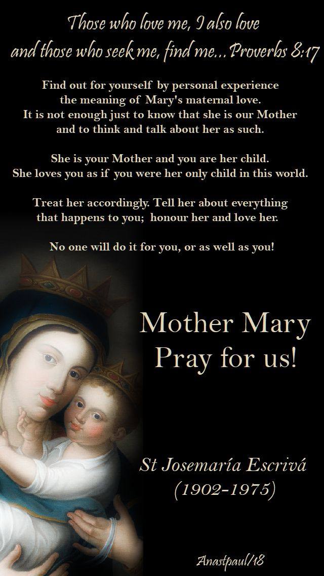 proverbs 8 17 - mary our mother, find out for yourself - st josemaria - 25 may 2018