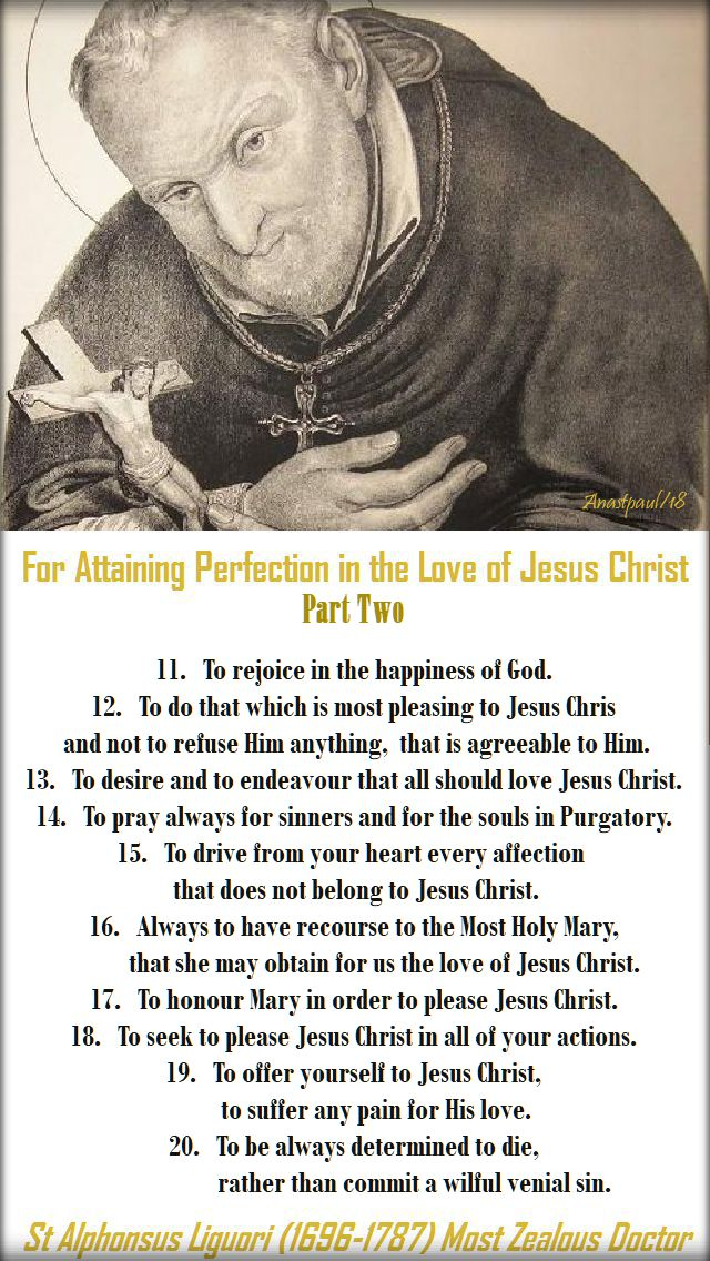 st alphonsus - for attaining perfection - part two - 28 may 2018