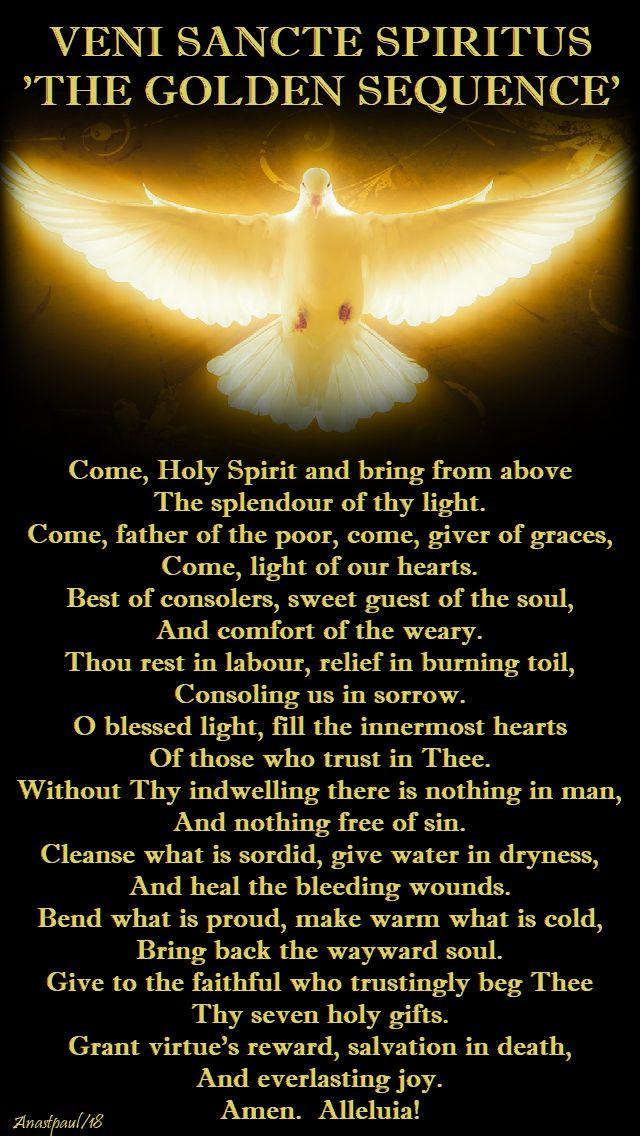 veni sancte spiritus - the golden sequence - pentecost - 20 may 2018
