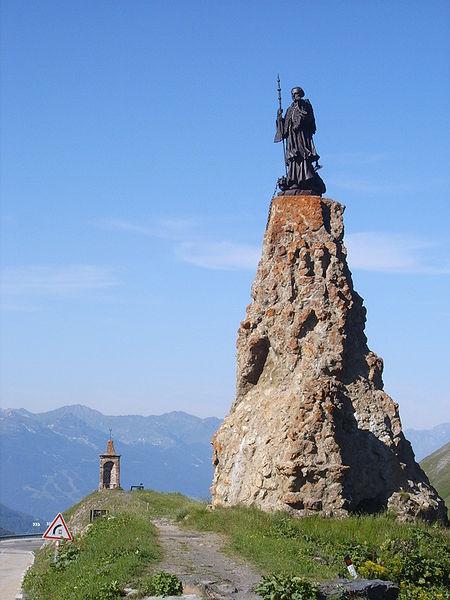 Statue of St Bernard at the Little St Bernard Pass.