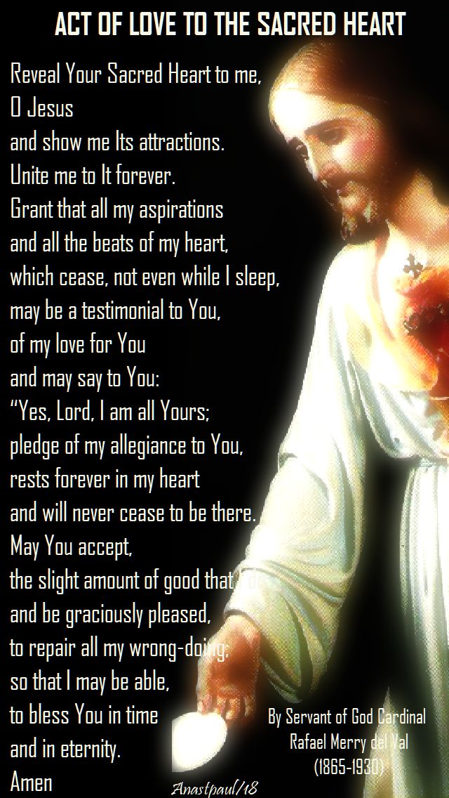 act of love to the sacred heart by servant of god card rafael merry del val - 1 june 2018