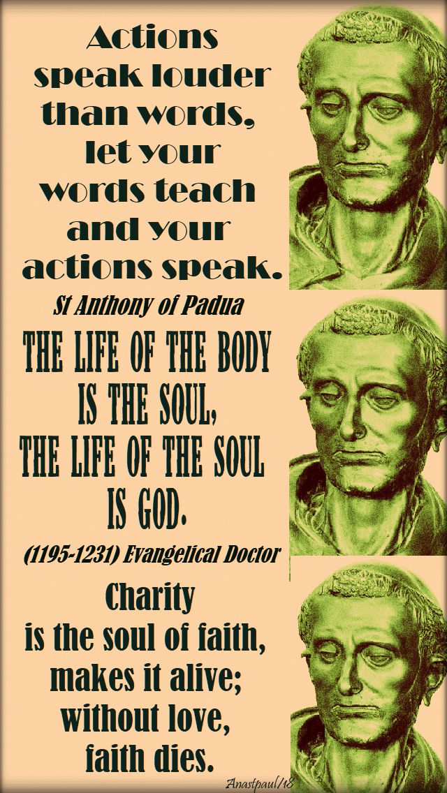 actions speak louder, charity is the soul of faith, the life of the body is the soul - st anthony of padua - 13 june 2018