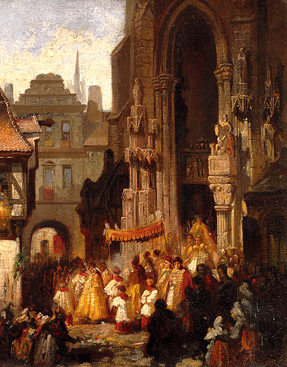 Corpus Christi procession. Oil on canvas by Carl Emil Doepler